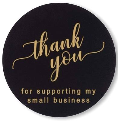 15 Stickers - Thank You - Business Support - Black & Gold