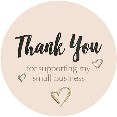 Stickers - Thank You - Business Support - Little Gold Hearts