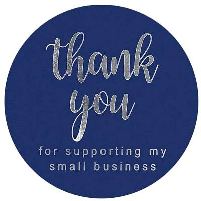 15 Stickers - Thank You - Business Support - Navy & Silver