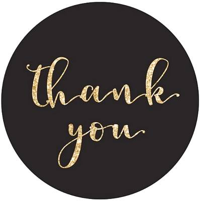 Thank you stickers Gold & Black