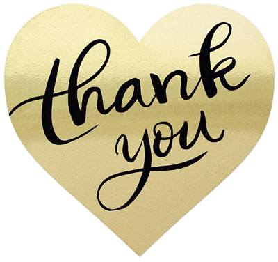 Thank you Heart - Black on Gold stickers