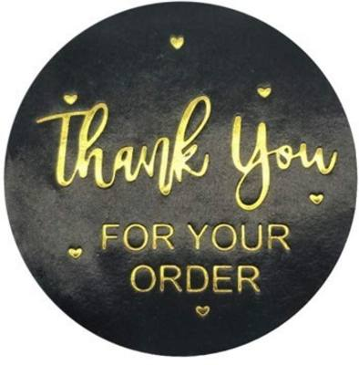 Stickers - Thank You, Order, Black & Gold