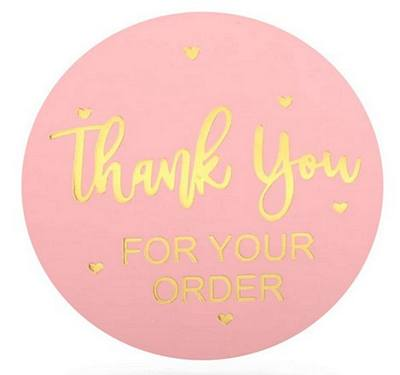 Stickers - Thank You, Order, Pink & Gold