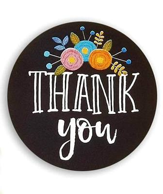 Thank you stickers Black with Flowers