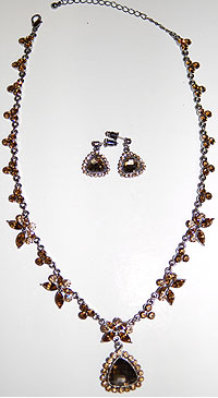 Topaz and Chocolate Necklace and Earrings Set