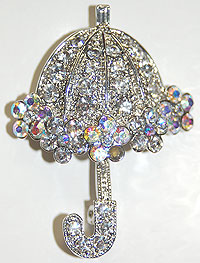 umbrella rhinestone pin