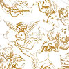 Victorian Gold Cherubs Cellophane Roll 30 x 100