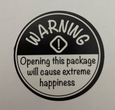 stickers warning extreme happiness