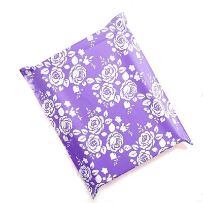 White & Violet Pretty Roses Violet Poly Mailers 10x13