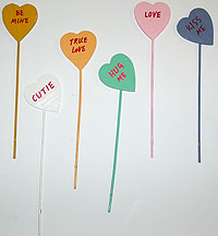 Wooden Painted Heart Picks